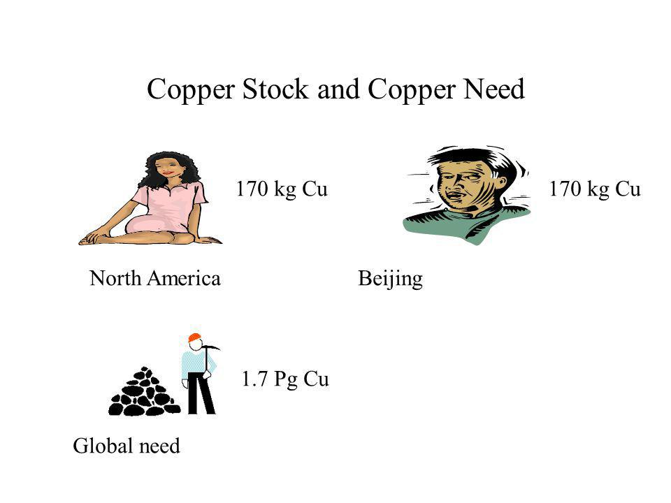 Copper Stock and Copper Need 170 kg Cu North AmericaBeijing Global need 1.7 Pg Cu