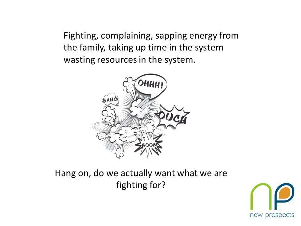 Fighting, complaining, sapping energy from the family, taking up time in the system wasting resources in the system.