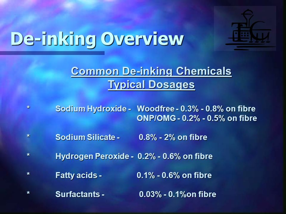 Common De-inking Chemicals Typical Dosages *Sodium Hydroxide - Woodfree - 0.3% - 0.8% on fibre ONP/OMG - 0.2% - 0.5% on fibre ONP/OMG - 0.2% - 0.5% on fibre *Sodium Silicate - 0.8% - 2% on fibre *Hydrogen Peroxide - 0.2% - 0.6% on fibre *Fatty acids - 0.1% - 0.6% on fibre *Surfactants - 0.03% - 0.1%on fibre De-inking Overview