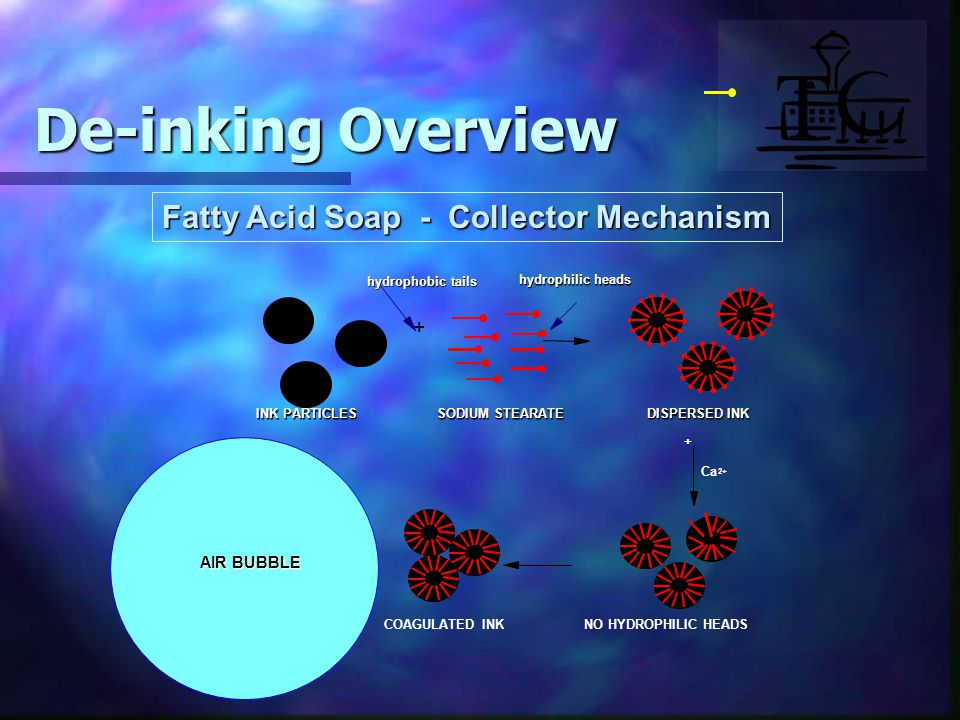 Fatty Acid Soap - Collector Mechanism NO HYDROPHILIC HEADSCOAGULATED INK AIR BUBBLE + De-inking Overview