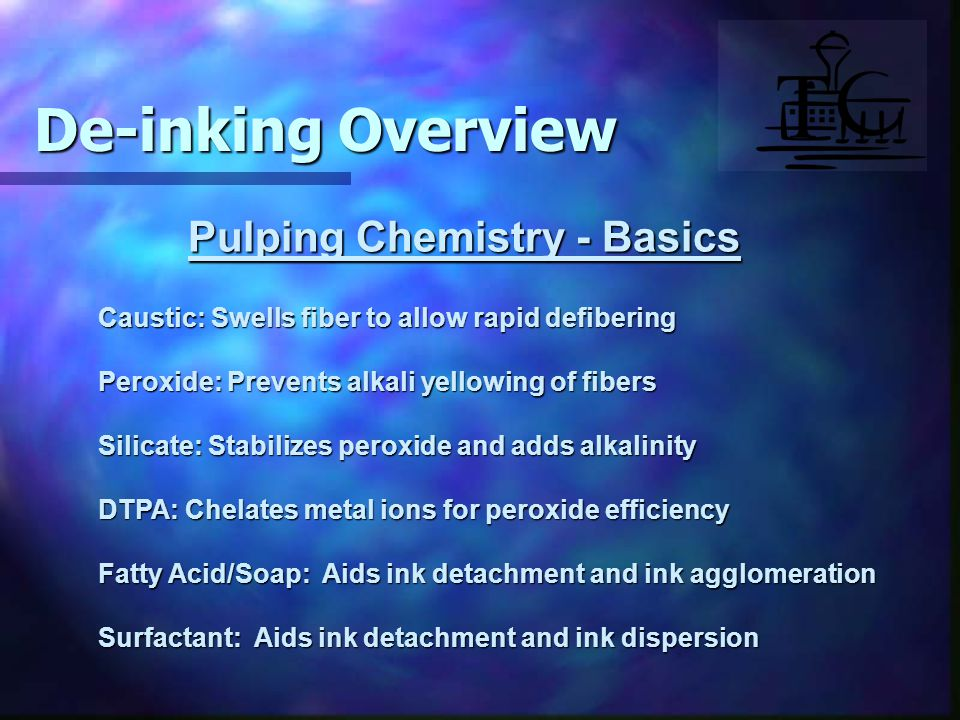 Pulping Chemistry - Basics Caustic: Swells fiber to allow rapid defibering Peroxide: Prevents alkali yellowing of fibers Silicate: Stabilizes peroxide and adds alkalinity DTPA: Chelates metal ions for peroxide efficiency Fatty Acid/Soap: Aids ink detachment and ink agglomeration Surfactant: Aids ink detachment and ink dispersion De-inking Overview