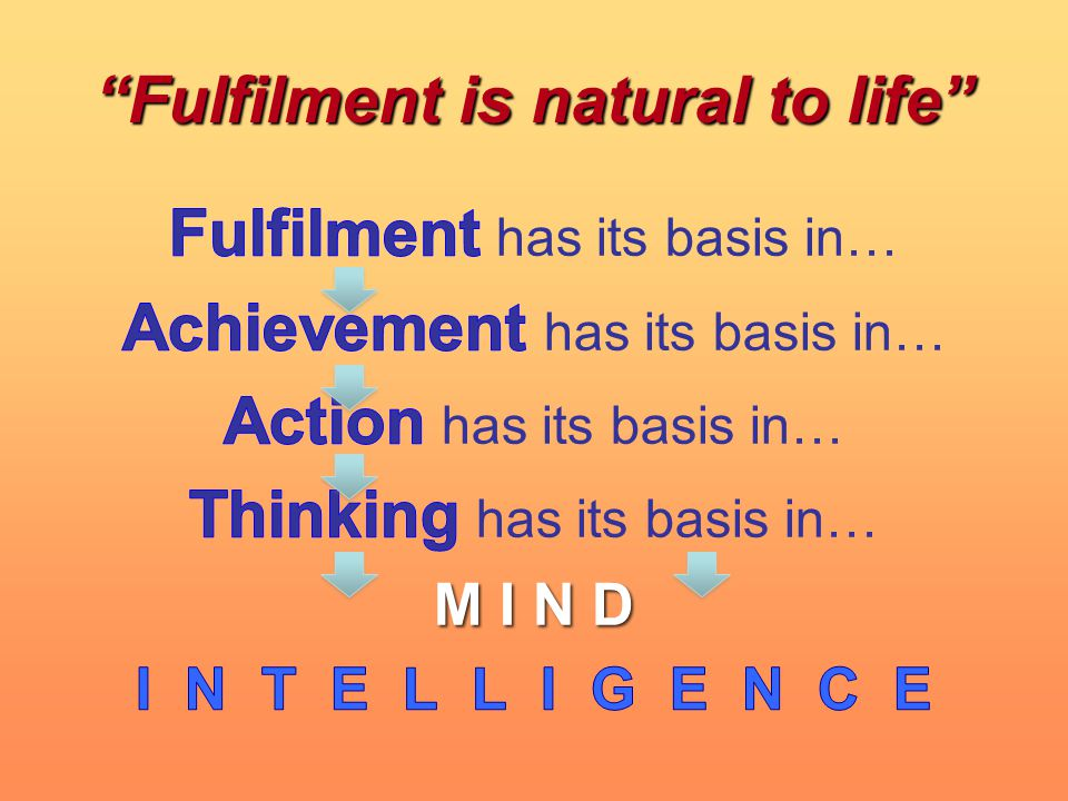 Fulfilment is natural to life