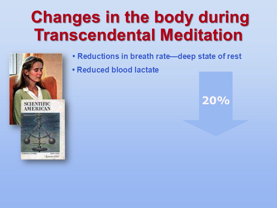 Reductions in breath rate—deep state of rest Reduced blood lactate 20%