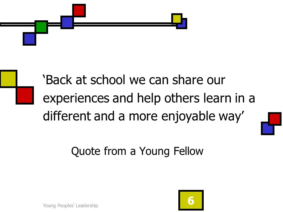 Young Peoples Leadership 6 'Back at school we can share our experiences and help others learn in a different and a more enjoyable way' Quote from a Young Fellow