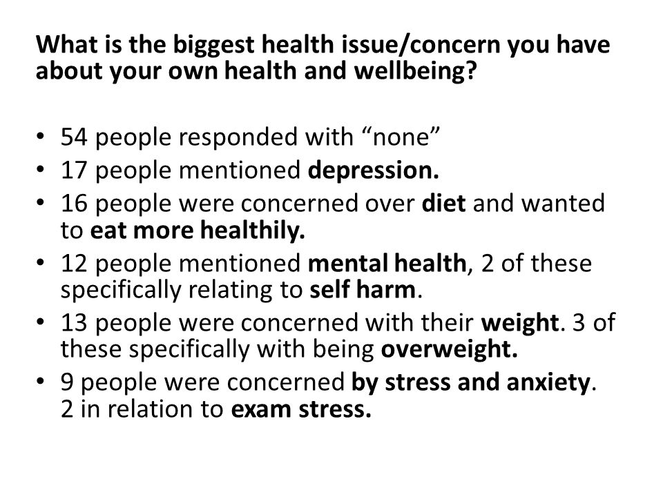 What is the biggest health issue/concern you have about your own health and wellbeing.