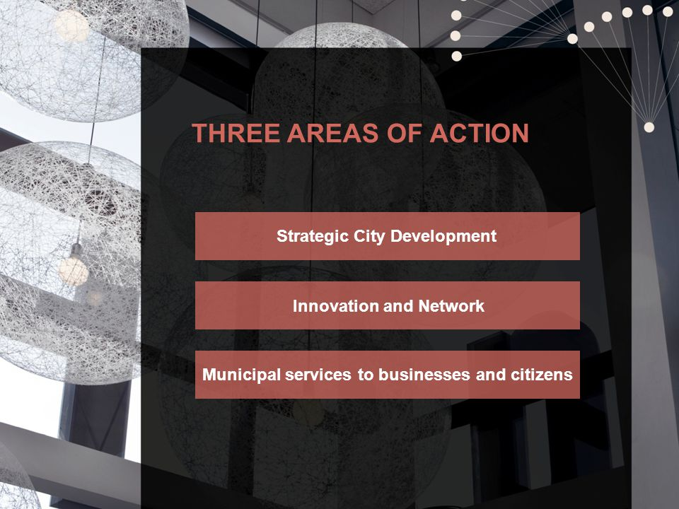 THREE AREAS OF ACTION Strategic City Development Innovation and Network Municipal services to businesses and citizens