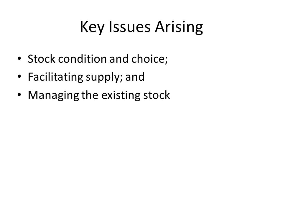 Key Issues Arising Stock condition and choice; Facilitating supply; and Managing the existing stock