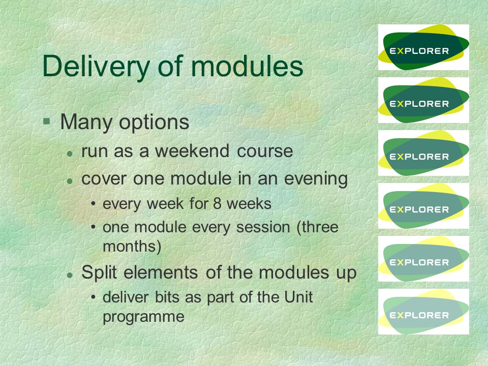 Delivery of modules §Many options l run as a weekend course l cover one module in an evening every week for 8 weeks one module every session (three months) l Split elements of the modules up deliver bits as part of the Unit programme