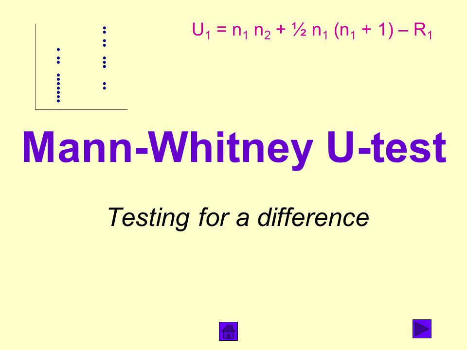 Mann-Whitney U-test Testing for a difference U 1 = n 1 n 2 + ½ n 1 (n 1 + 1) – R 1