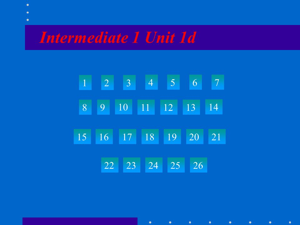 Intermediate 1 Unit 1d 123 4567 89 10 111213 14 15 22 23242526 161718192021