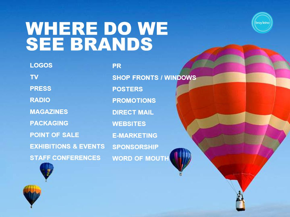 WHERE DO WE SEE BRANDS LOGOS TV PRESS RADIO MAGAZINES PACKAGING POINT OF SALE EXHIBITIONS & EVENTS STAFF CONFERENCES PR SHOP FRONTS / WINDOWS POSTERS PROMOTIONS DIRECT MAIL WEBSITES E-MARKETING SPONSORSHIP WORD OF MOUTH