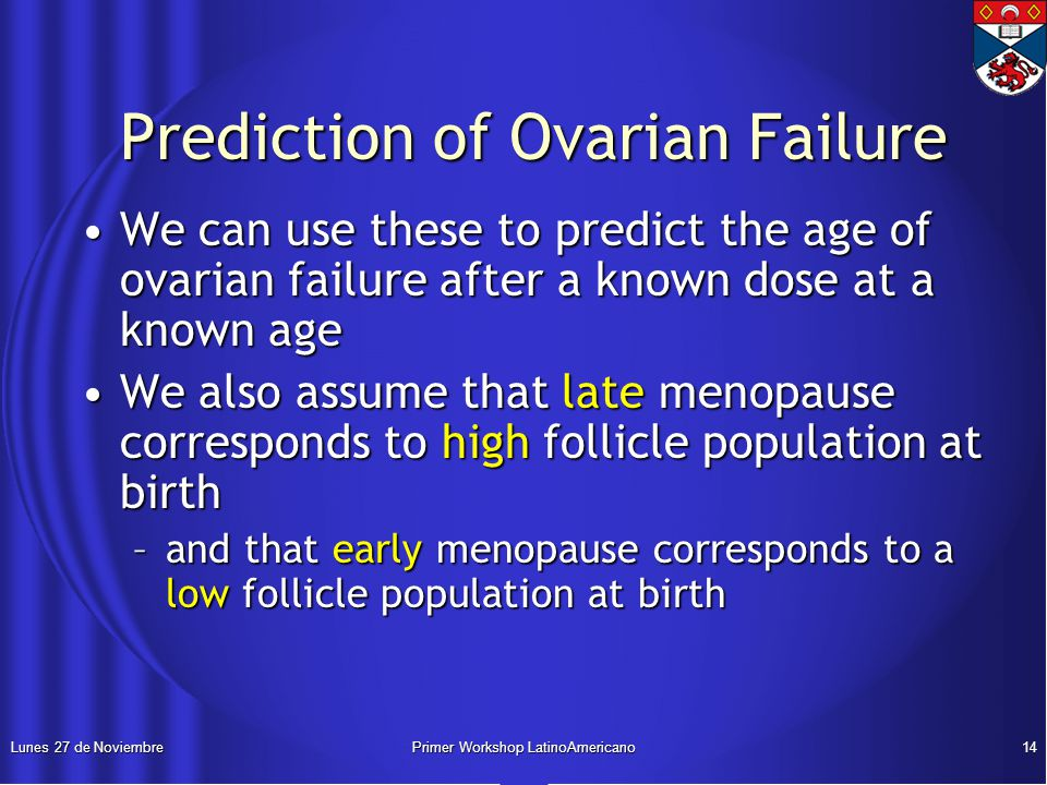 Lunes 27 de NoviembrePrimer Workshop LatinoAmericano14 Prediction of Ovarian Failure Prediction of Ovarian Failure We can use these to predict the age of ovarian failure after a known dose at a known ageWe can use these to predict the age of ovarian failure after a known dose at a known age We also assume that late menopause corresponds to high follicle population at birthWe also assume that late menopause corresponds to high follicle population at birth –and that early menopause corresponds to a low follicle population at birth