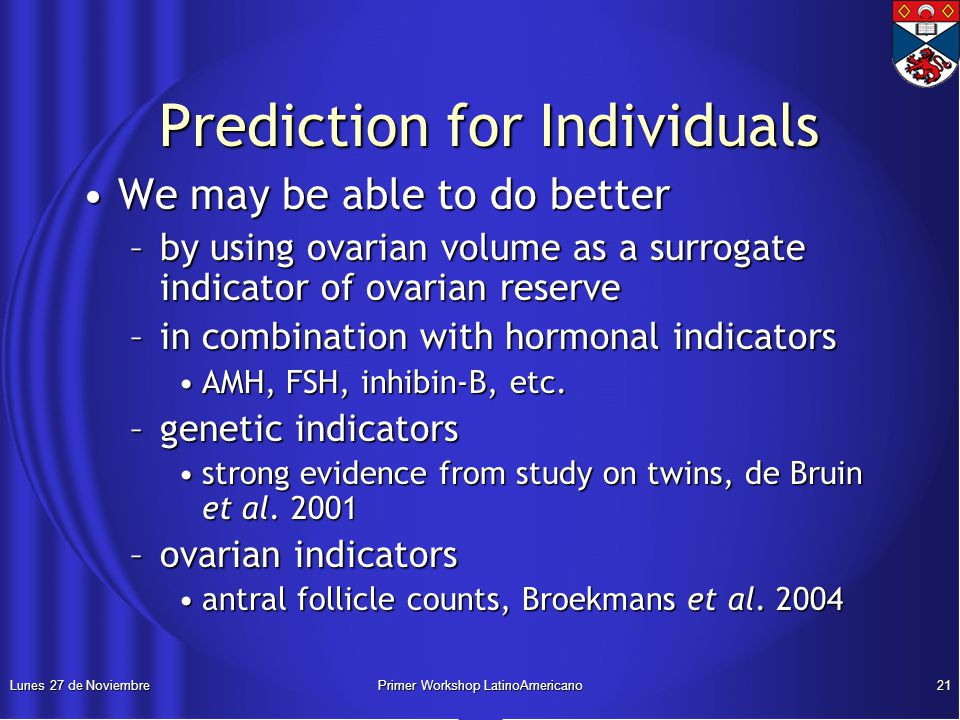 Lunes 27 de NoviembrePrimer Workshop LatinoAmericano21 Prediction for Individuals Prediction for Individuals We may be able to do betterWe may be able to do better –by using ovarian volume as a surrogate indicator of ovarian reserve –in combination with hormonal indicators AMH, FSH, inhibin-B, etc.AMH, FSH, inhibin-B, etc.