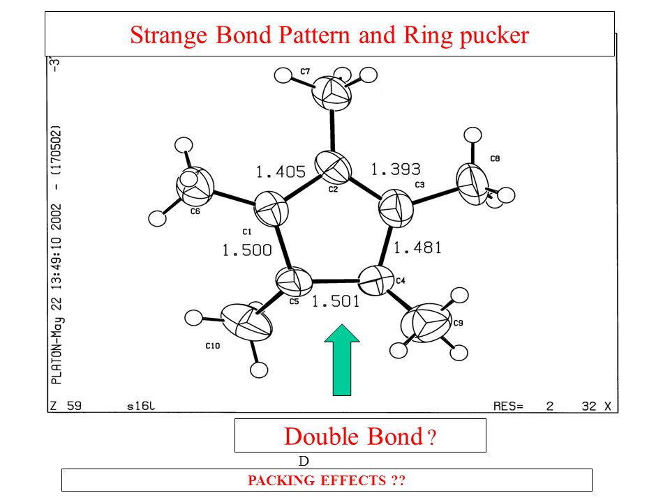 Strange Bond Pattern and Ring pucker PACKING EFFECTS DoDDoD Double Bond