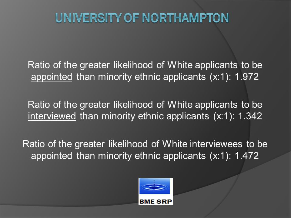 Ratio of the greater likelihood of White applicants to be appointed than minority ethnic applicants (x:1): 1.972 Ratio of the greater likelihood of White applicants to be interviewed than minority ethnic applicants (x:1): 1.342 Ratio of the greater likelihood of White interviewees to be appointed than minority ethnic applicants (x:1): 1.472