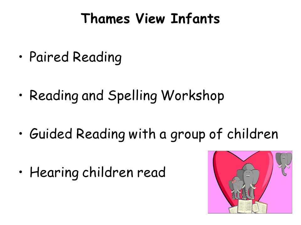 Thames View Infants Paired Reading Reading and Spelling Workshop Guided Reading with a group of children Hearing children read