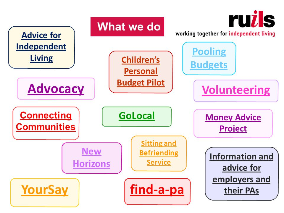 Advocacy GoLocal New Horizons YourSay Pooling Budgets Volunteering Connecting Communities Information and advice for employers and their PAs find-a-pa Money Advice Project Advice for Independent Living Children's Personal Budget Pilot Sitting and Befriending Service