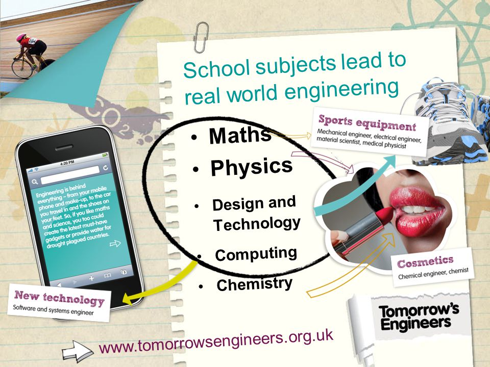 School subjects lead to real world engineering www.tomorrowsengineers.org.uk Maths Physics Design and Technology Computing Chemistry