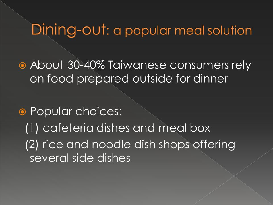  About 30-40% Taiwanese consumers rely on food prepared outside for dinner  Popular choices: (1) cafeteria dishes and meal box (2) rice and noodle dish shops offering several side dishes
