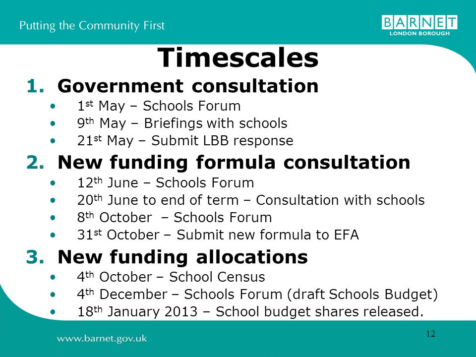 12 Timescales 1.Government consultation 1 st May – Schools Forum 9 th May – Briefings with schools 21 st May – Submit LBB response 2.New funding formula consultation 12 th June – Schools Forum 20 th June to end of term – Consultation with schools 8 th October – Schools Forum 31 st October – Submit new formula to EFA 3.New funding allocations 4 th October – School Census 4 th December – Schools Forum (draft Schools Budget) 18 th January 2013 – School budget shares released.