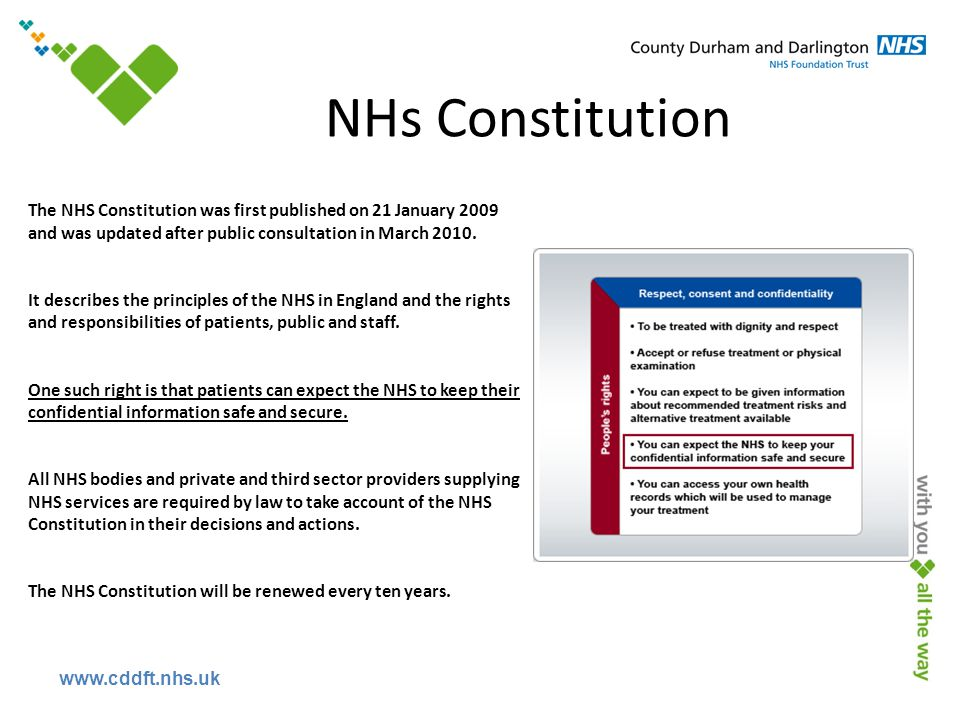 www.cddft.nhs.uk NHs Constitution The NHS Constitution was first published on 21 January 2009 and was updated after public consultation in March 2010.