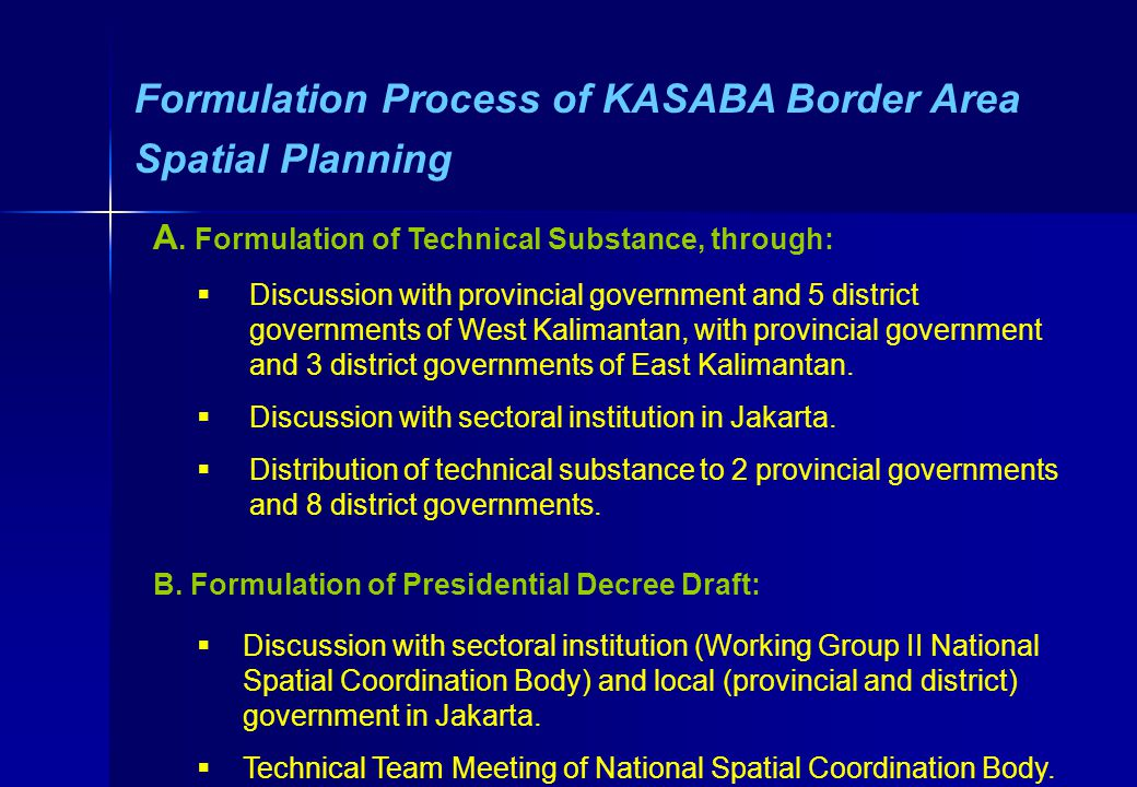 Formulation Process of KASABA Border Area Spatial Planning A.