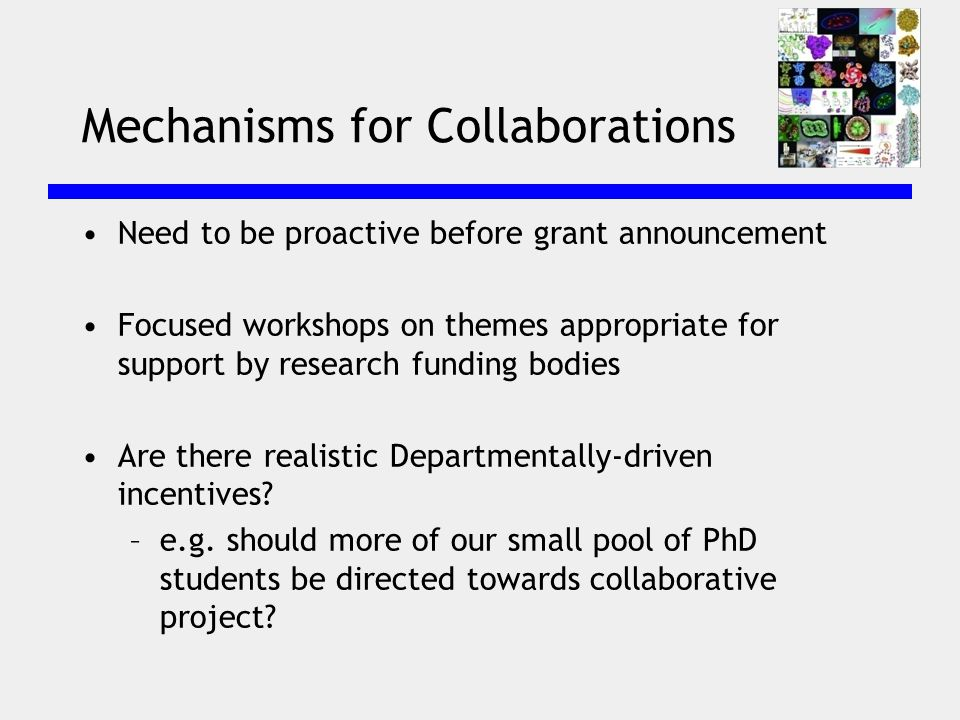 Mechanisms for Collaborations Need to be proactive before grant announcement Focused workshops on themes appropriate for support by research funding bodies Are there realistic Departmentally-driven incentives.
