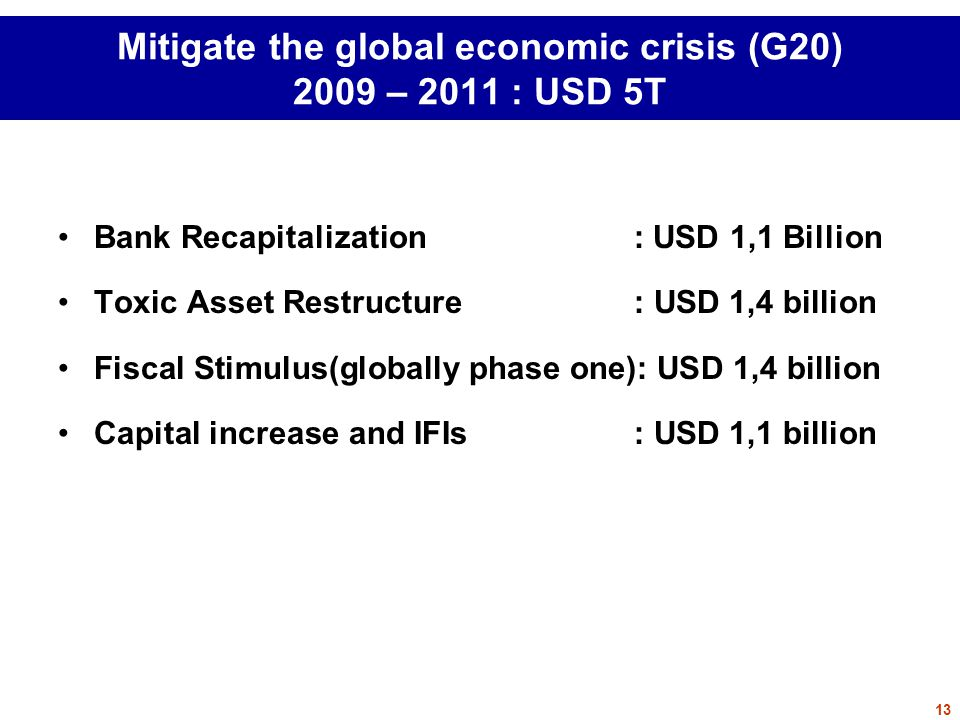 Mitigate the global economic crisis (G20) 2009 – 2011 : USD 5T Bank Recapitalization: USD 1,1 Billion Toxic Asset Restructure: USD 1,4 billion Fiscal Stimulus(globally phase one): USD 1,4 billion Capital increase and IFIs : USD 1,1 billion 13