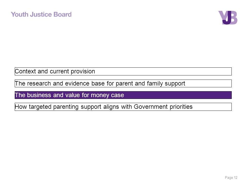 Page 12 Context and current provision The research and evidence base for parent and family support The business and value for money case How targeted parenting support aligns with Government priorities