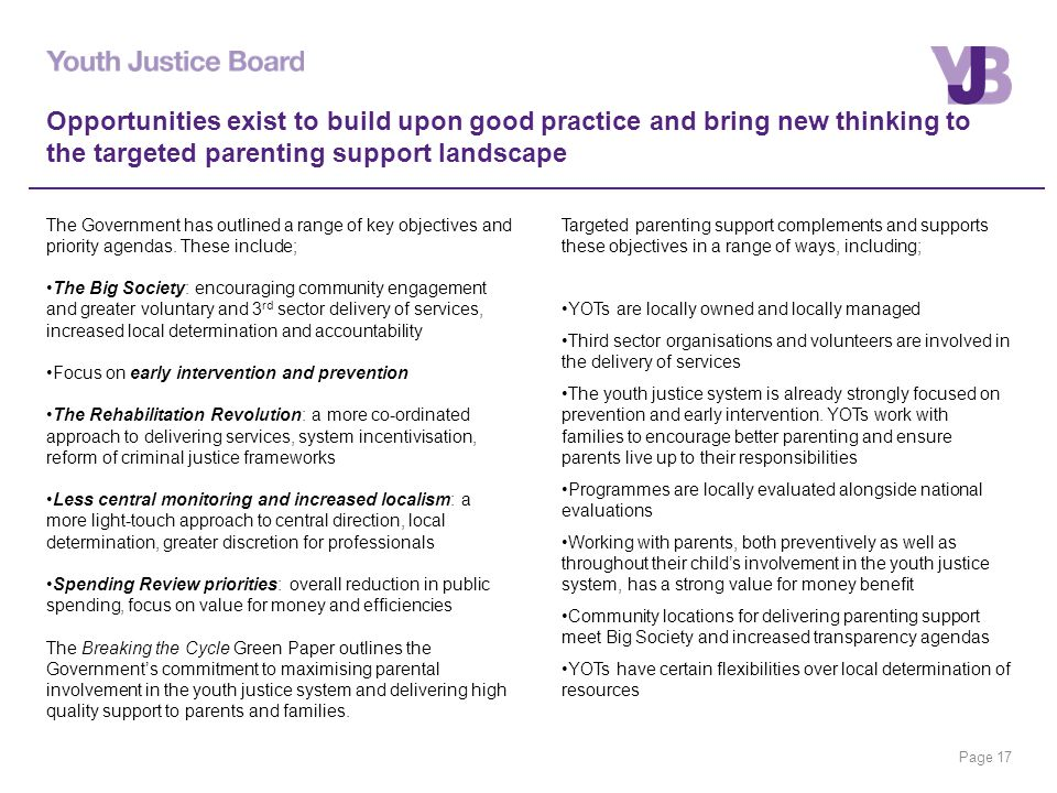 Page 17 Opportunities exist to build upon good practice and bring new thinking to the targeted parenting support landscape The Government has outlined a range of key objectives and priority agendas.