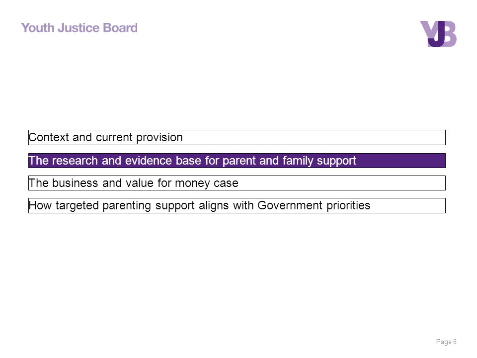 Page 6 Context and current provision The research and evidence base for parent and family support The business and value for money case How targeted parenting support aligns with Government priorities