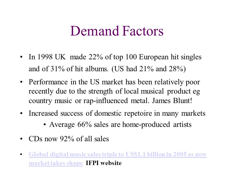 The Music Industry Market Attractiveness Size UK revenues £4.6bn pa inc £1.3bn export earnings UK has 7.6% of world retail sales - 3rd after US & Japan biggest growth in E Europe, L America, Asia Growth 10% p a 1987-1996 but now stagnant since (RIA site)RIA site)