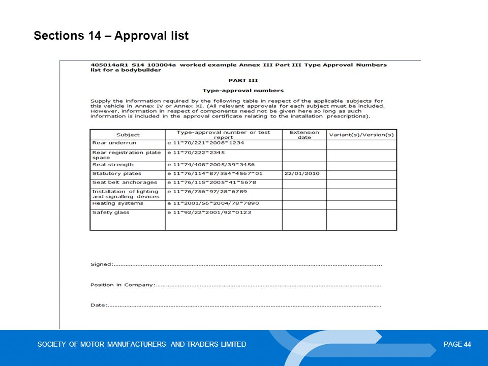 SOCIETY OF MOTOR MANUFACTURERS AND TRADERS LIMITEDPAGE 44 Sections 14 – Approval list