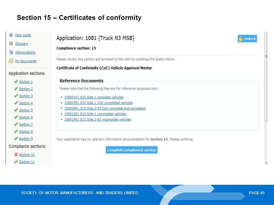 SOCIETY OF MOTOR MANUFACTURERS AND TRADERS LIMITEDPAGE 45 Section 15 – Certificates of conformity