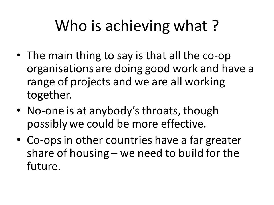 Who is achieving what .