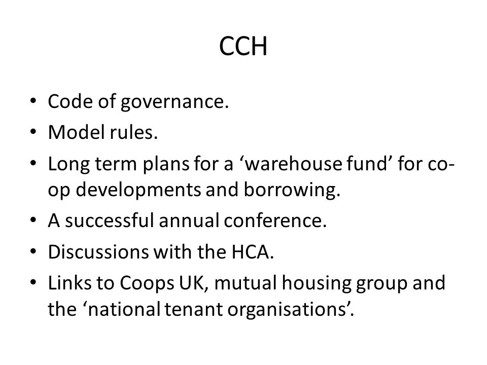 CCH Code of governance. Model rules.