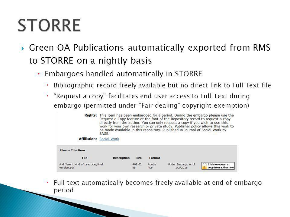  Green OA Publications automatically exported from RMS to STORRE on a nightly basis  Embargoes handled automatically in STORRE  Bibliographic record freely available but no direct link to Full Text file  Request a copy facilitates end user access to Full Text during embargo (permitted under Fair dealing copyright exemption)  Full text automatically becomes freely available at end of embargo period