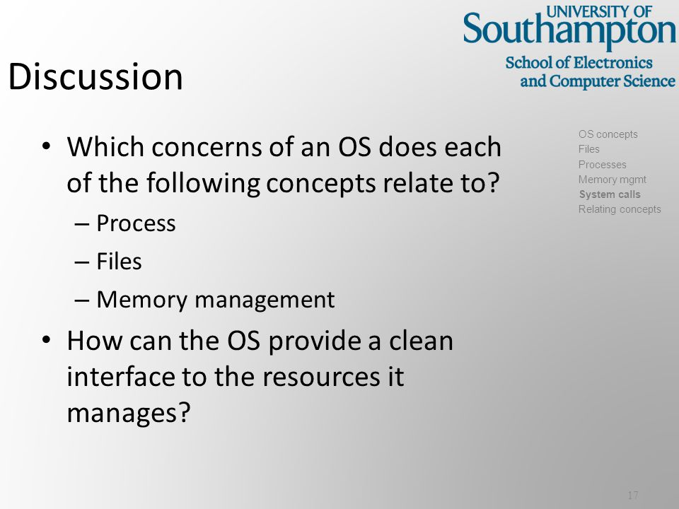 Discussion Which concerns of an OS does each of the following concepts relate to.
