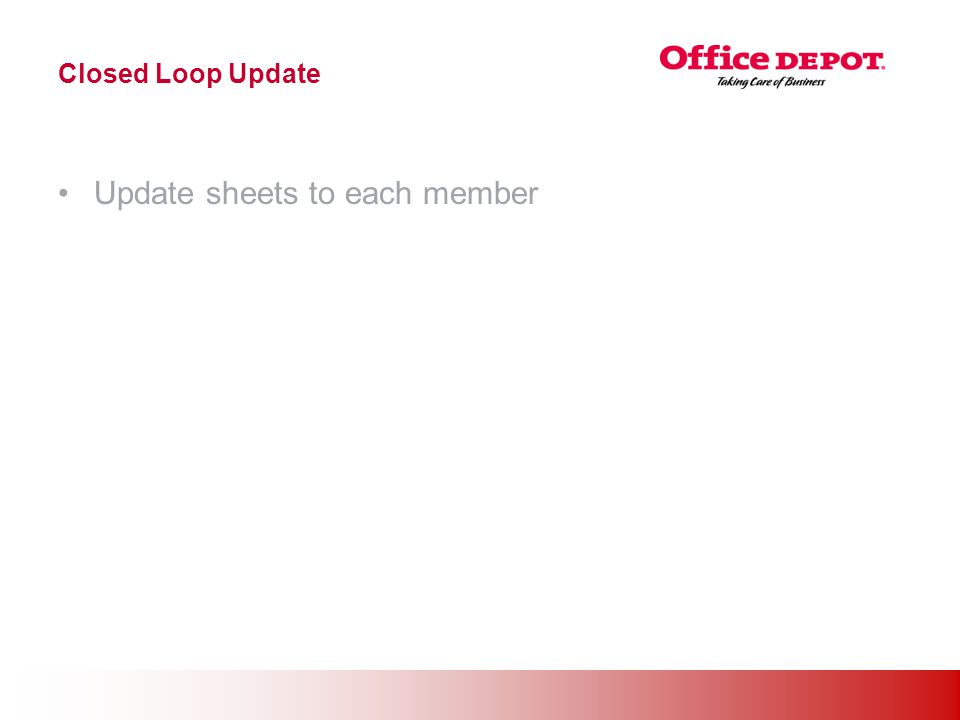 Office Solutions Closed Loop Update Update sheets to each member