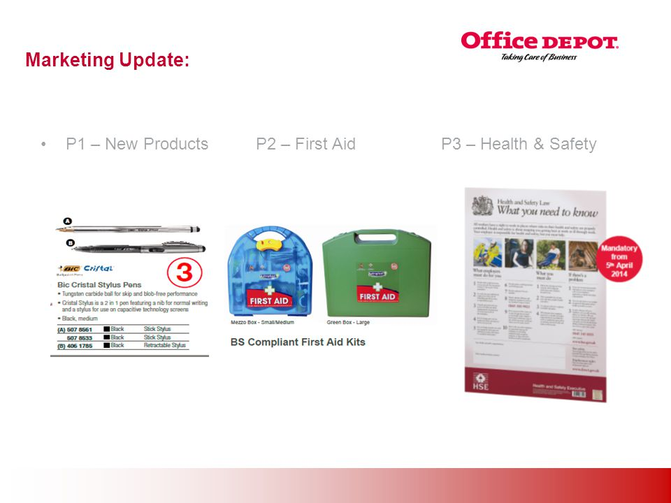 Office Solutions Marketing Update: P1 – New Products P2 – First Aid P3 – Health & Safety