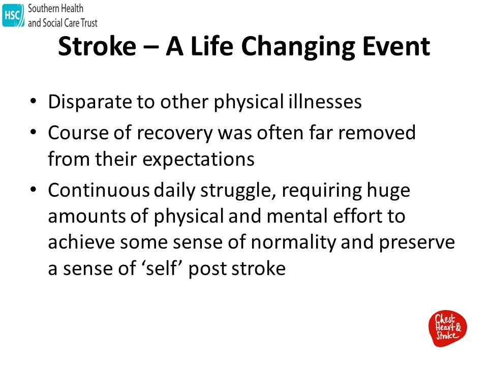 Stroke – A Life Changing Event Disparate to other physical illnesses Course of recovery was often far removed from their expectations Continuous daily struggle, requiring huge amounts of physical and mental effort to achieve some sense of normality and preserve a sense of 'self' post stroke