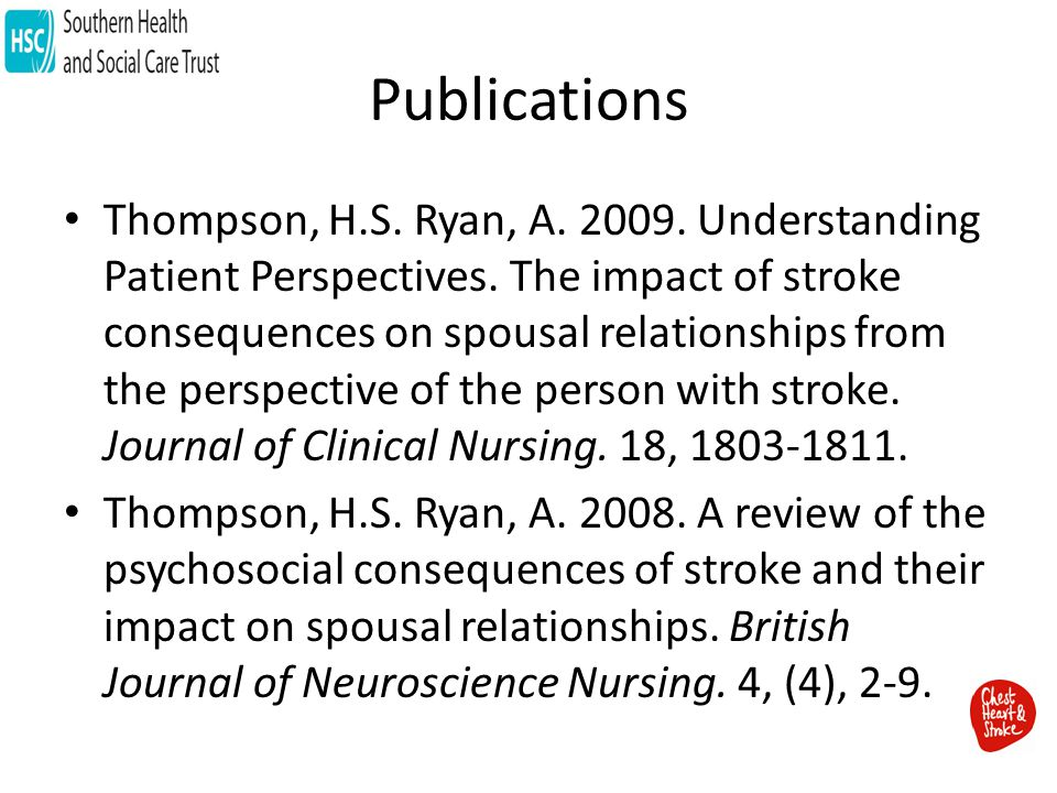 Publications Thompson, H.S. Ryan, A. 2009. Understanding Patient Perspectives.
