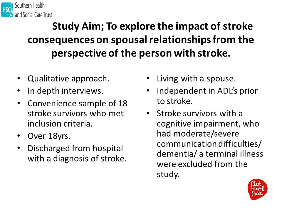 Study Aim; To explore the impact of stroke consequences on spousal relationships from the perspective of the person with stroke.