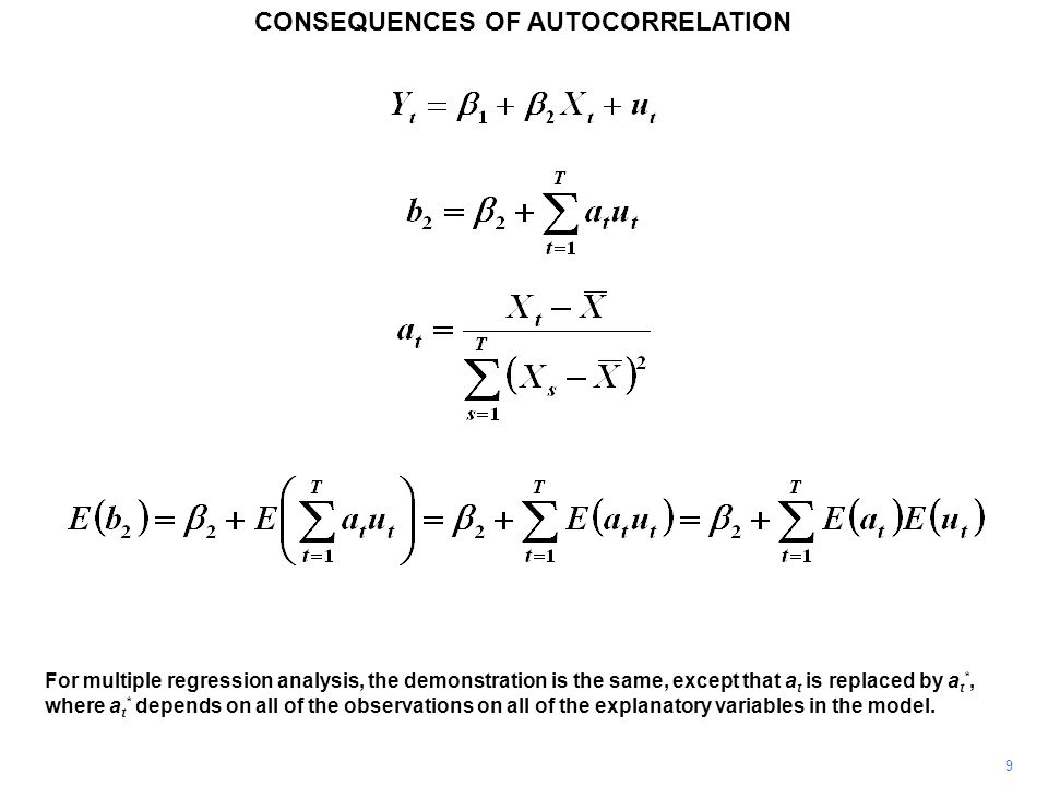 CONSEQUENCES OF AUTOCORRELATION 9 For multiple regression analysis, the demonstration is the same, except that a t is replaced by a t *, where a t * depends on all of the observations on all of the explanatory variables in the model.