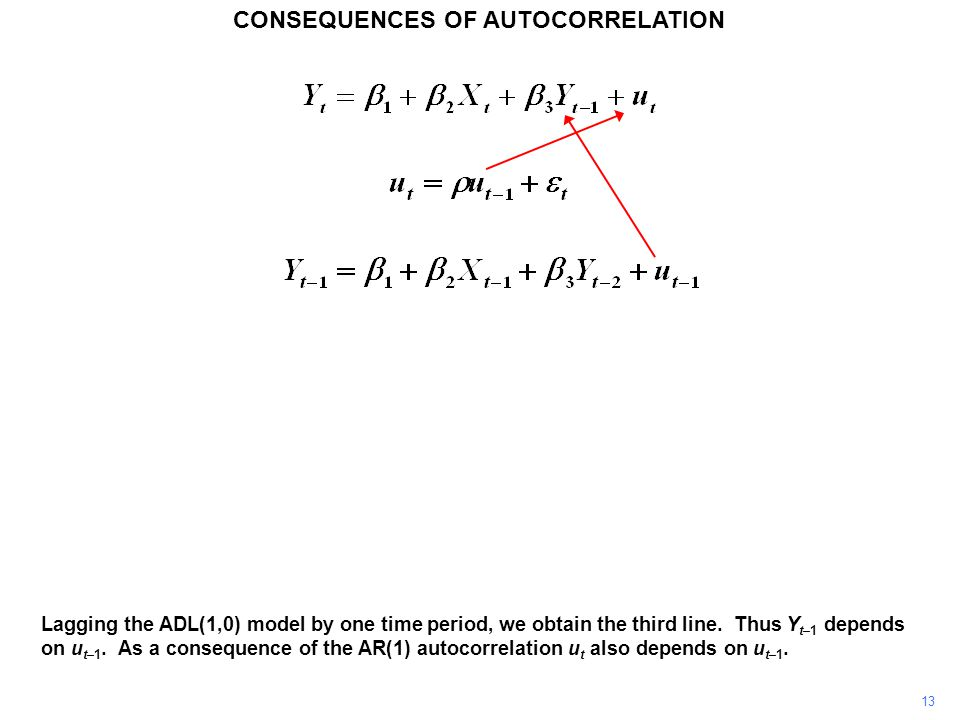 CONSEQUENCES OF AUTOCORRELATION 13 Lagging the ADL(1,0) model by one time period, we obtain the third line.