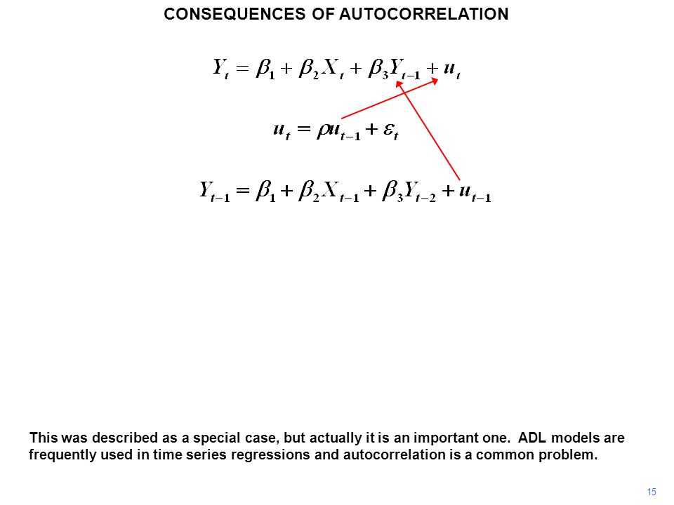 CONSEQUENCES OF AUTOCORRELATION 15 This was described as a special case, but actually it is an important one.