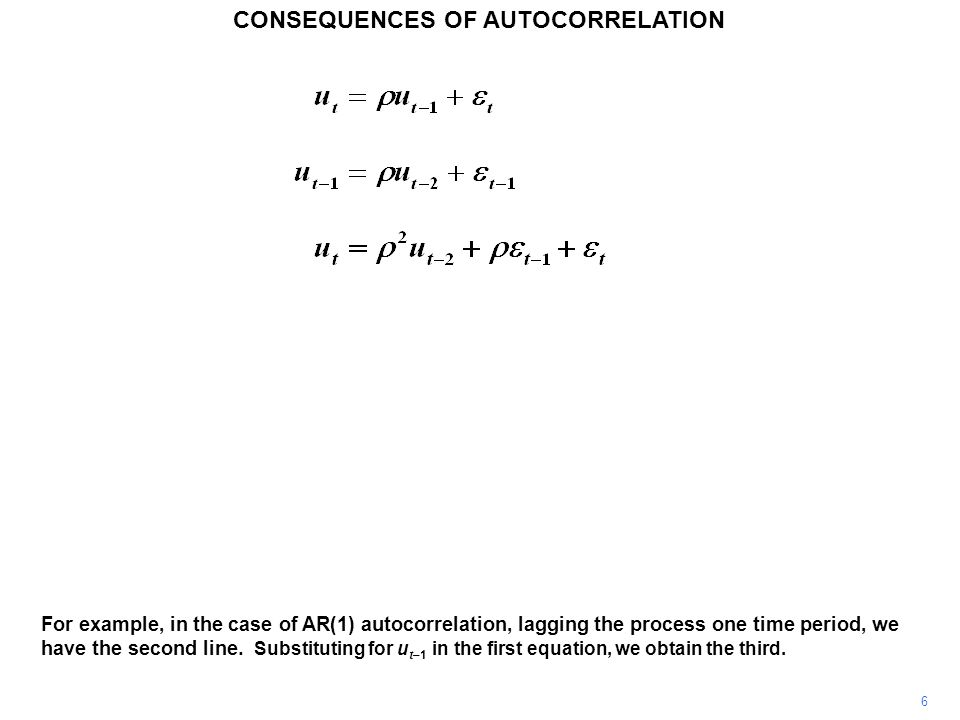 CONSEQUENCES OF AUTOCORRELATION 6 For example, in the case of AR(1) autocorrelation, lagging the process one time period, we have the second line.