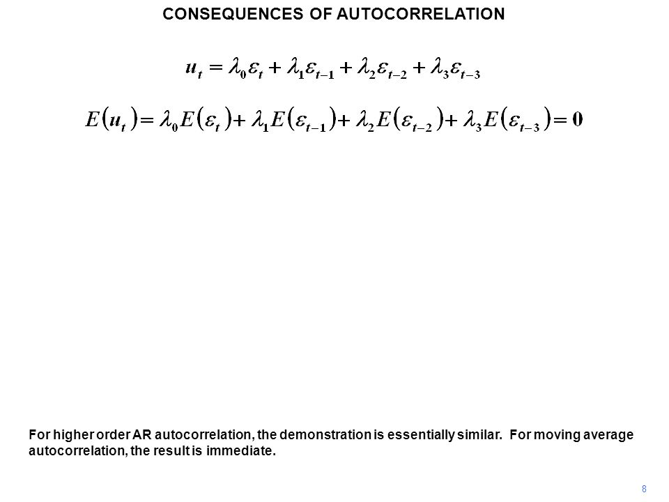 CONSEQUENCES OF AUTOCORRELATION 8 For higher order AR autocorrelation, the demonstration is essentially similar.