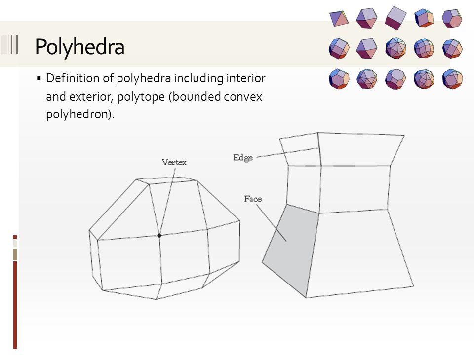  Definition of polyhedra including interior and exterior, polytope (bounded convex polyhedron).
