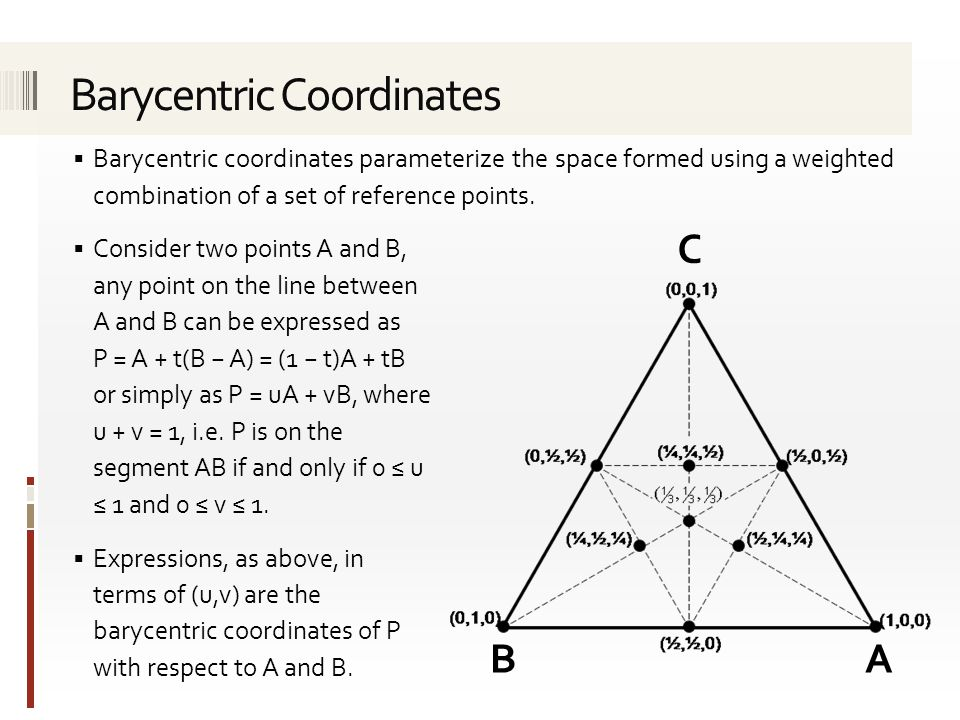  Barycentric coordinates parameterize the space formed using a weighted combination of a set of reference points.